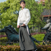 The costume of traditional Chinese clothing men's daily leisure Dark Dragon Cross collar jacket skirt waist skirt embroidered spring