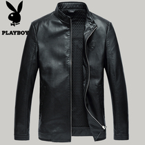 Young and middle-aged playboys leather leather mens sheepskin collar and thin men spring of Haining leather jacket coat