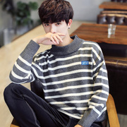 The winter men's T shirt Polo neck sweater semi loose sweater sweater mens fashion personality