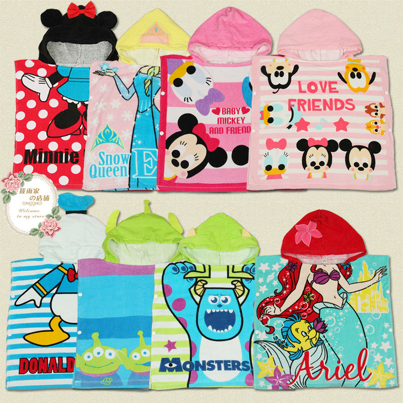 Cartoon children head cotton towel bathrobe towel material hooded cloak cloak baby beach towel bathrobe