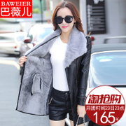 2017 new winter lamb fur coat fur leather PU girls long and short thick warm cashmere