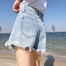 chic hole denim shorts female summer 2018 new high waist loose wide leg Korean students wild flashes hot pants