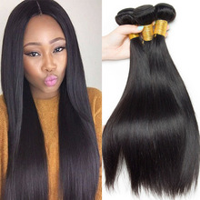 9A virgin human straight hair extensions peruvian hair weft