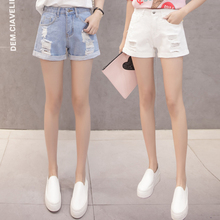 denim shorts female summer 2018 new Korean high waist was thin loose wild students hole wide leg short hot pants