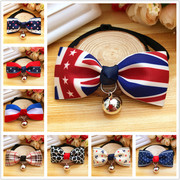 British style pet tie bow Teddy Pomeranian bell collar cats and dogs accessories bell collar