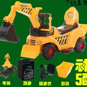 A large electric toy for children can sit and ride four excavator excavator wheel engineering vehicle hook machine baby music