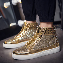 Hong Kong lovers high shoes cl mens shoes new Korean tide shoes personalized rivet punk casual shoes gold GZ shoes