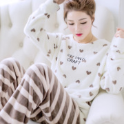 Winter Coral Fleece Pajamas female long sleeve winter sweet Korean thick plush Home Furnishing Flannel Suit