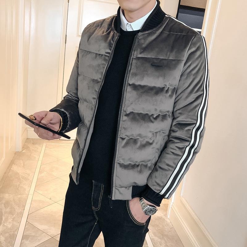 金丝绒男士外套冬季韩版潮流个性棉衣服男帅气羽绒棉服男装棉袄子