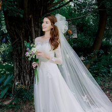 Winter wedding dress the bride 2017 new tail Princess Wedding light shoulder long sleeved Mori simple word
