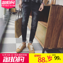 Black winter men's jeans loose youth trend of Korean 2017 straight jeans pants
