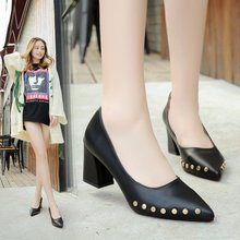 High heel shoes with pointed rivet rough code 40 sexy black occupation 7 cm temperament elegant and comfortable workplace ol