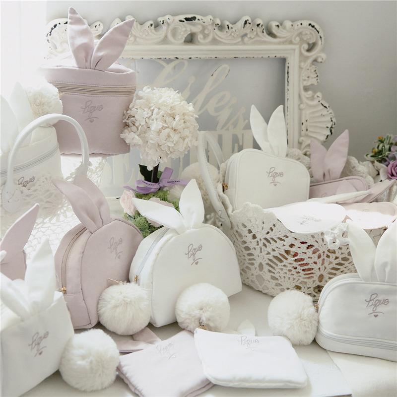 日系可爱大毛绒毛球小兔子刺绣字母少女眼罩随身便携化妆包收纳包