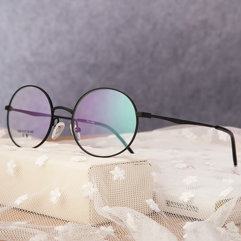 Ultra light retro glasses frame art fine gold rimmed glasses frame of flat mirror with myopia color