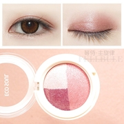 South Korea the SAEM Fresh Color Eyeshadow box the color orange pink wine red pony with nude make-up