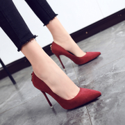 High heels women in the summer of 2017 the new han edition joker fine work with pointed lighter shoes spring sheet