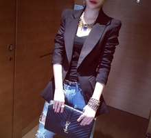 2018 small suit jacket female long-sleeved port taste retro chic coat European station white casual slim suit