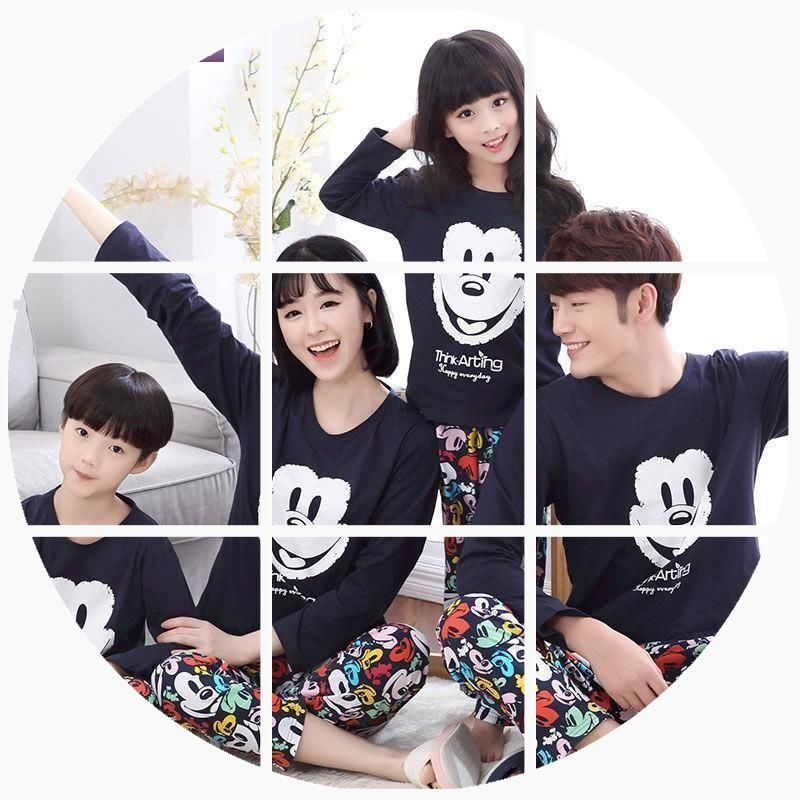 If children's pajamas, parent-child outfit, lovers pajamas, spring and autumn men and women long sleeved cotton, cute, Korean family of leisure