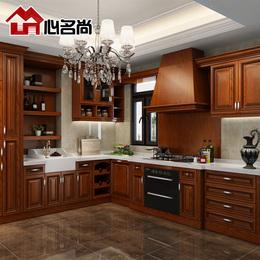整体橱柜定做 北欧式L型厨房石英石经济型红橡实木美式 橱柜定制