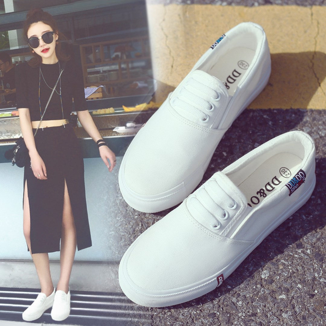 Korean tide white shoe female flat 2017 new shoes spring pedal students black and white canvas shoes