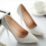 Special offer every day new quarter pointed high-heeled shoes with a fine white female occupation casual shoes silver wedding shoes shoes Asakuchi