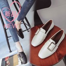 Shoes spring 2017 pedal lazy flat small leather shoes buckle shoes with British style shoes code