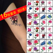 16 piece suit tattoo waterproof female high simulation Rose Butterfly Flower arm tattoo stickers free shipping shoot 2 to send 1