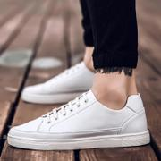 Skateboard shoes, work shoes summer social comfortable leather shoes men's singles spring/summer youth business is lace-up casual sneakers in society