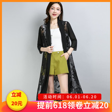 Outside, wear a female summer thin style cardigan large size medium length air conditioning shirt, sunscreen shirt, chiffon shirt, outer shawl coat, jacket.