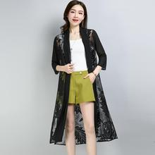 Outside Pi Xia Thin Cardigan Large yard In the long section Air conditioning shirt Sunscreen Chiffon shirt Outside shawl Jacket