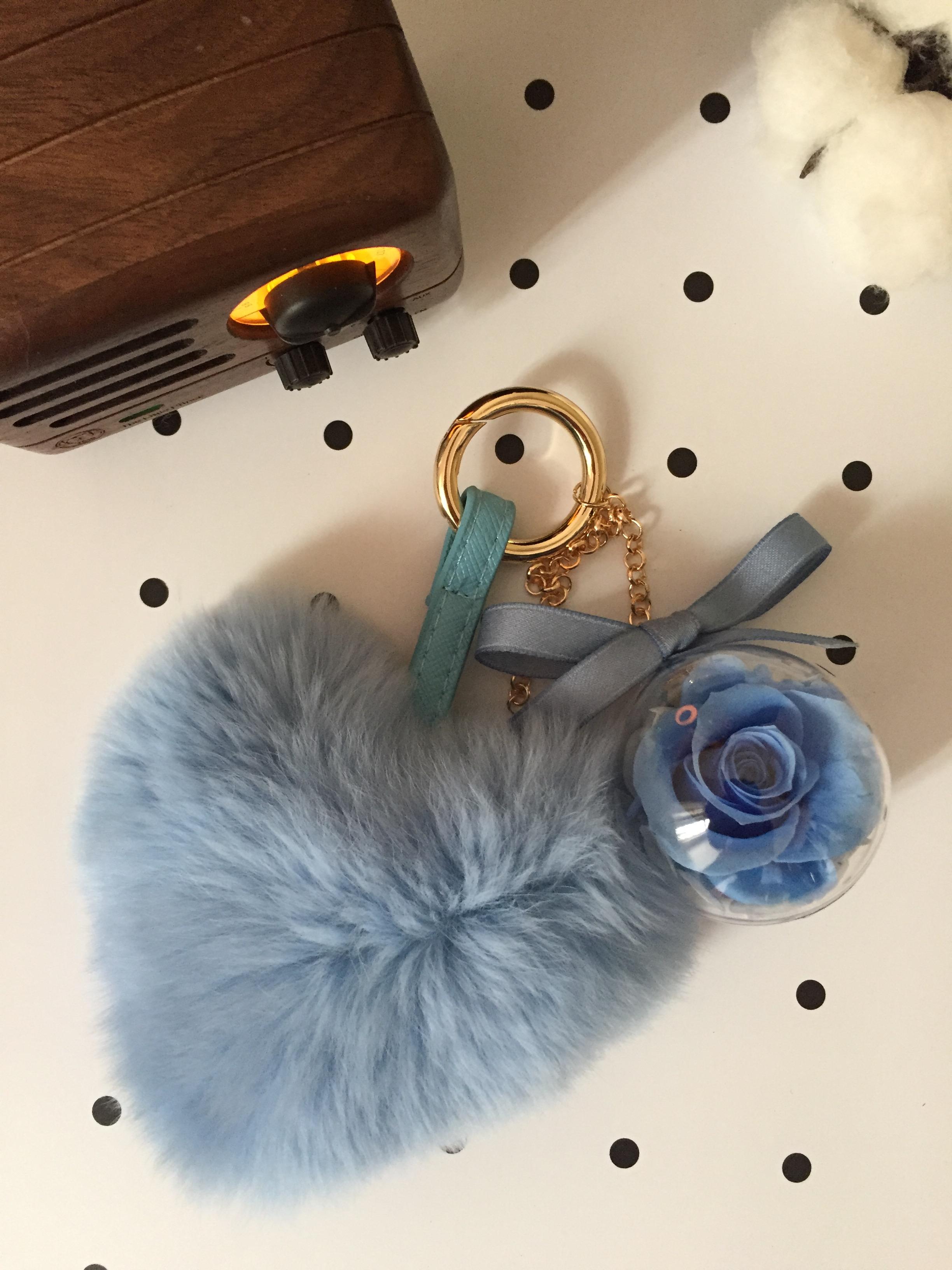 圣诞节永生花汽车挂包挂件爱心兔毛生日婚礼创意钥匙扣