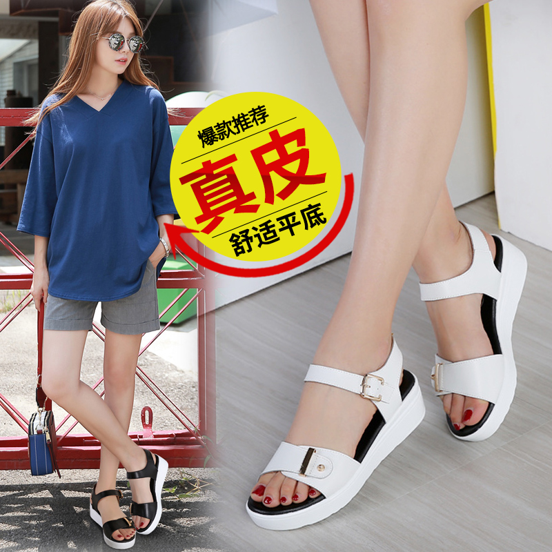 The new 2017 summer students wedges anti-slip leather shoes joker contracted with ms flat sandals