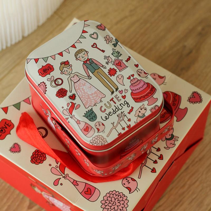 定制 新款我的婚礼 喜糖盒 铁盒 烟盒 小铁盒 回礼婚礼盒手挽铁盒