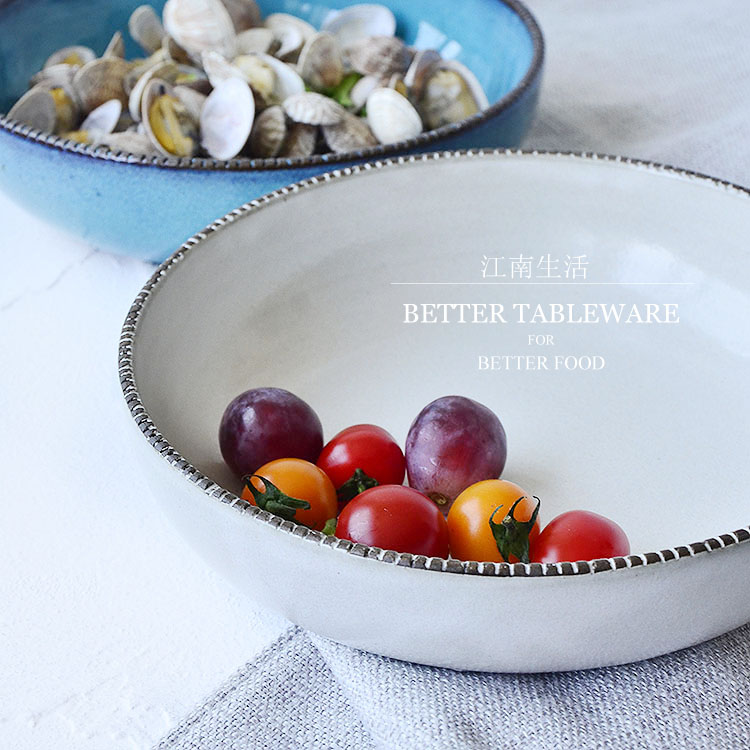 Day tao light fruit salad and taste new life saliva coarse ceramic tableware jiangnan household type two bowls engraved line color