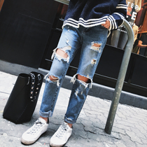 2017 vintage washed ripped jeans women spring new Korean version of the Joker slimming foot nine minutes of pants worn tide