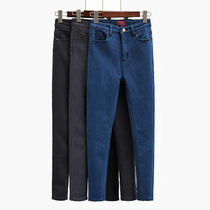 Korean autumn 2016 new wave black and long female feet stretch velvet high waist jeans skinny pencil pants
