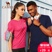 Selling 70 thousand camel outdoor short sleeved men and women summer sweat absorbent breathable fitness tee quick dry T-shirt