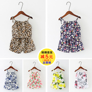 The new summer girls 0-1-2-3 years old female baby sling set two sets of 2017 children's summer TSUMUGI