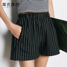 The Korean version of all-match code loose thin waist wide leg pants vertical stripes black shorts female summer wear shorts