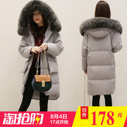 TQ winter new women's big fur collar Hooded Jacket slim long warm coat.