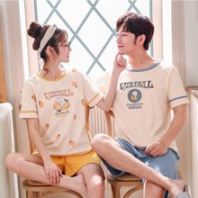 Summer couple pajamas set cotton cartoon home wear men women