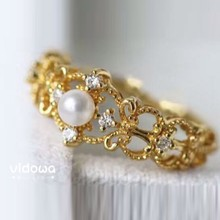 Vidowa Japanese Light luxury 925 sterling silver gold inlaid pearls Baroque princess crown CZ rings hollow