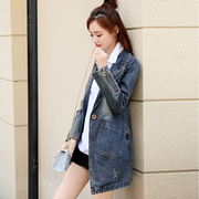 Denim jacket long 2016 spring new Korean female slim slim one-button long sleeves blouse denim coat
