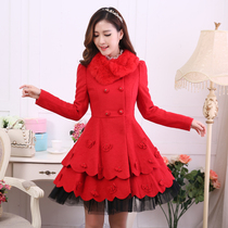 Micro-candy Lady rabbit hair collar long slim wool double-breasted red coat winter coat ladies SpongeBob