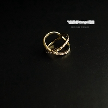 Single girls jewelry full diamond gold ring double ring trade