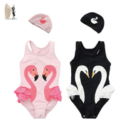 Children's swimwear White Swan Flamingo 2017 spring ins explosion of Beijing Dachang female baby one-piece customization