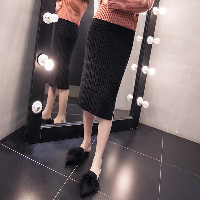 2017秋冬季新款加厚双侧开衩麻花纹高腰包臀针织半身裙中长裙子女