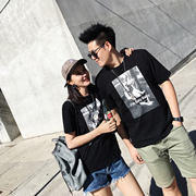 Teng Yujia 2017 new summer tee shirt dress funny couple loose cotton clothes BF wind