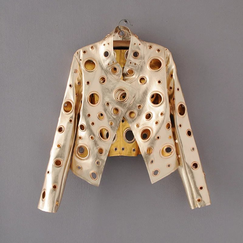 2017 spring new gold rivets, short circle coat, European and American Locomotive short jacket, women's coat, PU leather