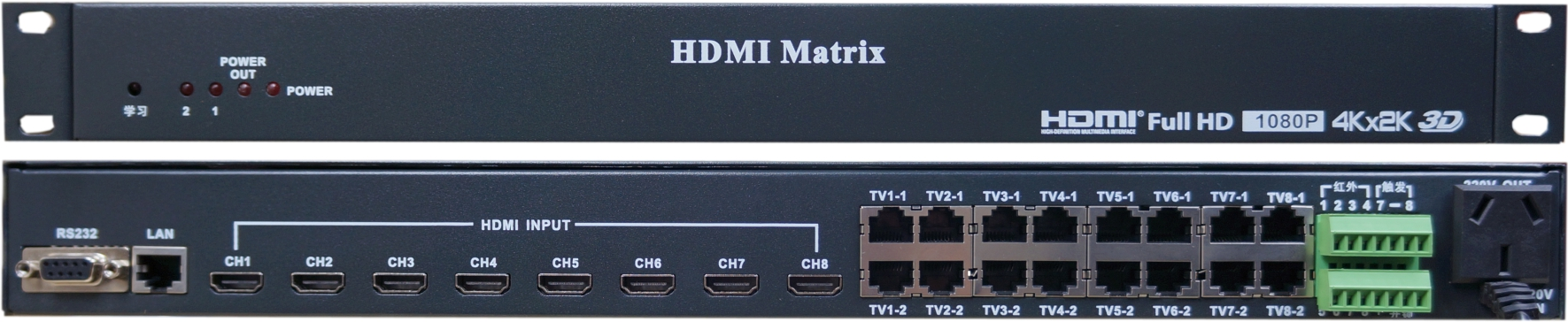 Eight in eight out, HDMI808/HDMI404 HD 3D, 4K video matrix, set-top box sharing